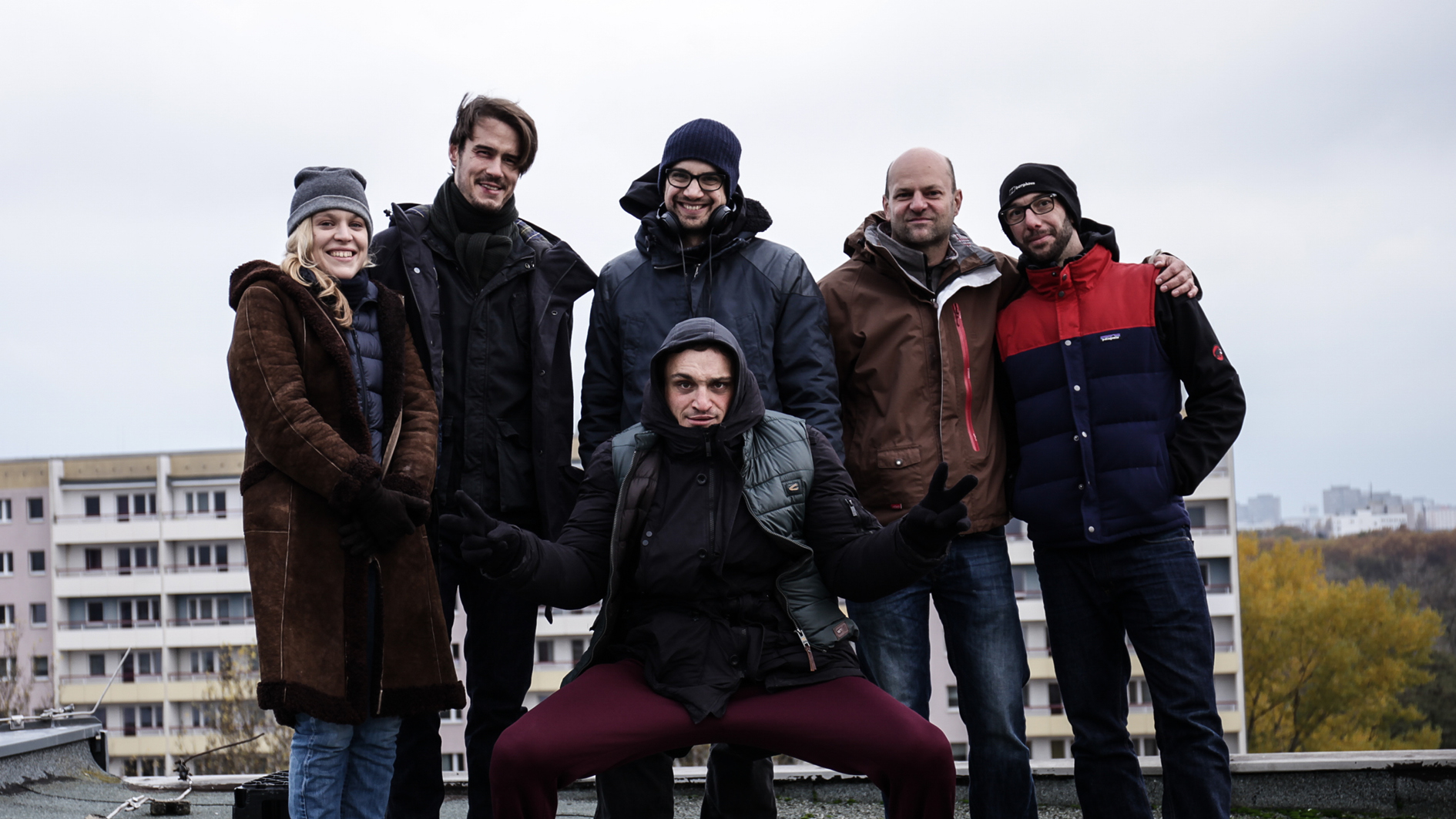 Anne Haug, Tilman Strauss, Daniel Wild (Buch + Regie), Bernd Krause (Mixtvision), Yannick Bonica (Kamera) und davor Hauptdarsteller Franz Rogowsi